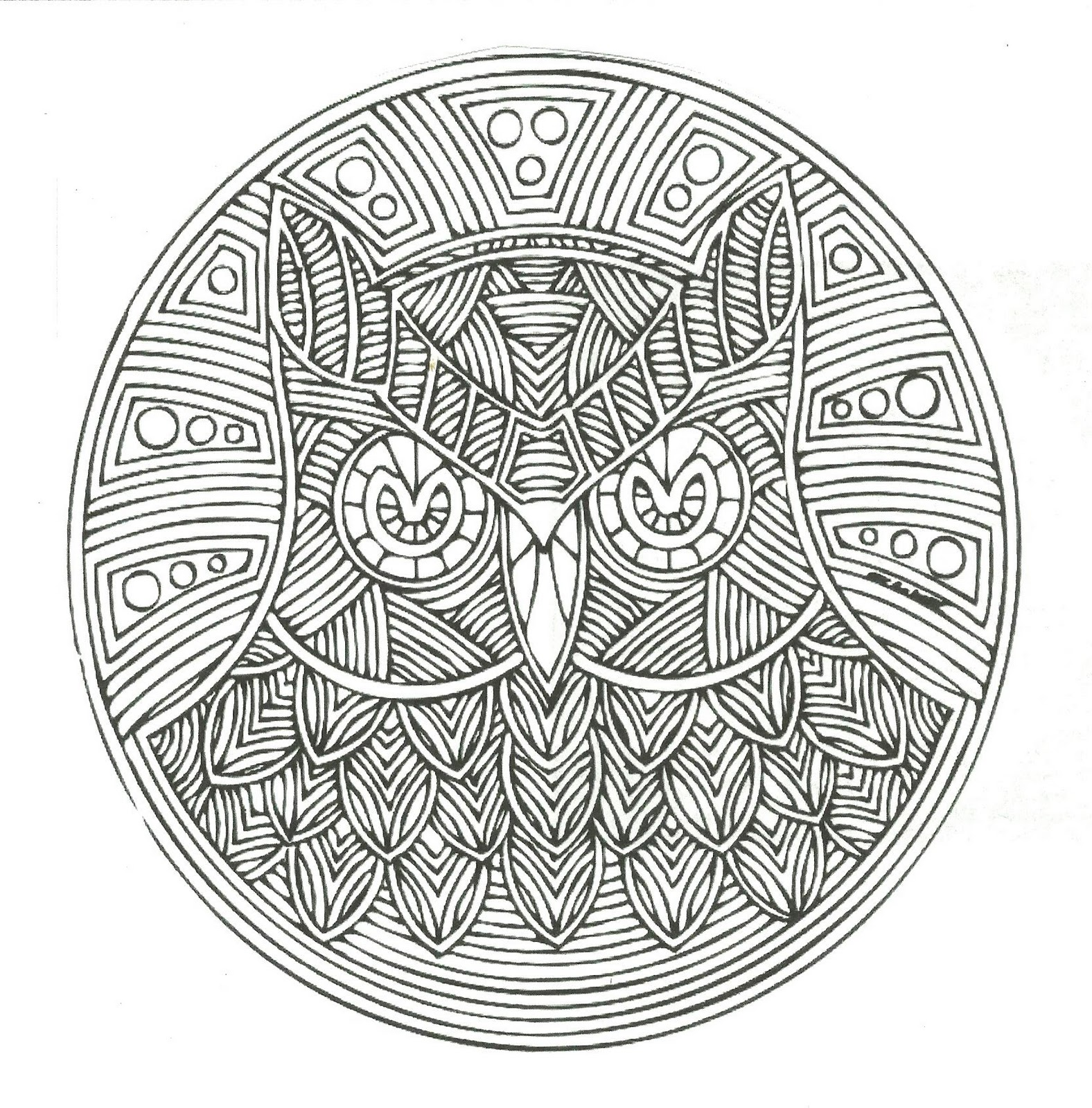 Free coloring pages of mandalas owl for Colores para pintar
