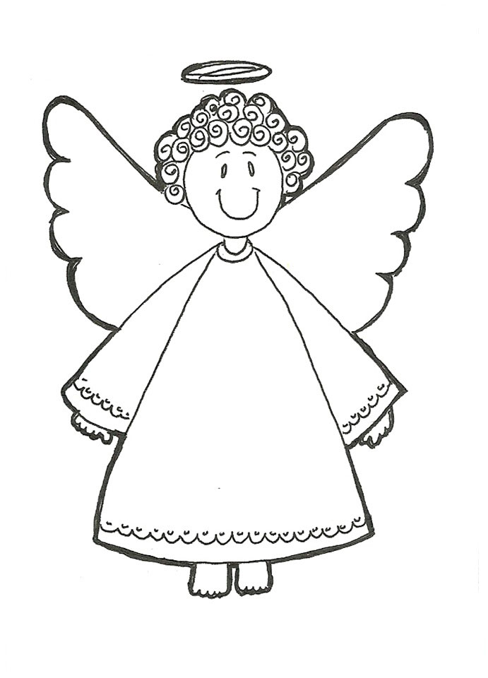 Angeles para colorear pintar e imprimir for Angel coloring pages