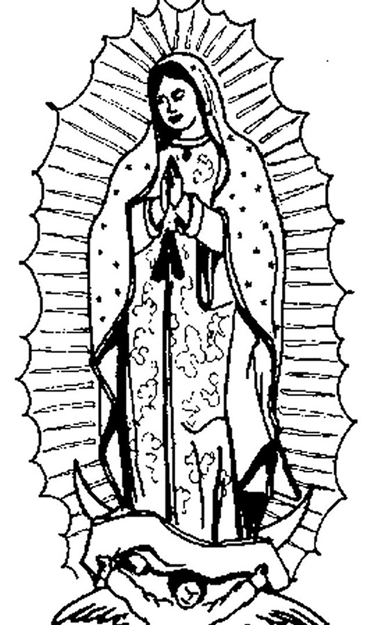Virgen de guadalupe para colorear e imprimir for Virgen de guadalupe coloring pages