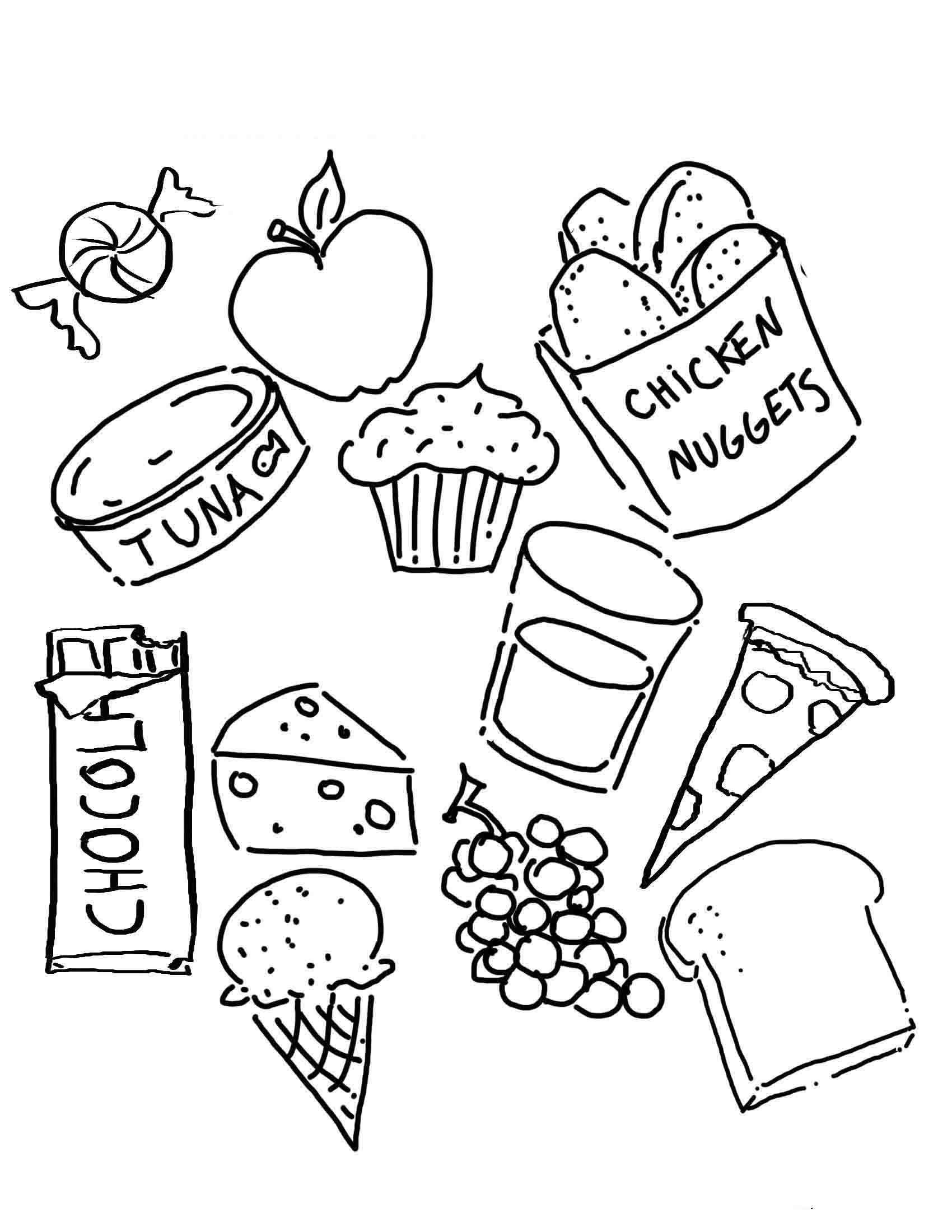comida saludable para ni Colouring Pages