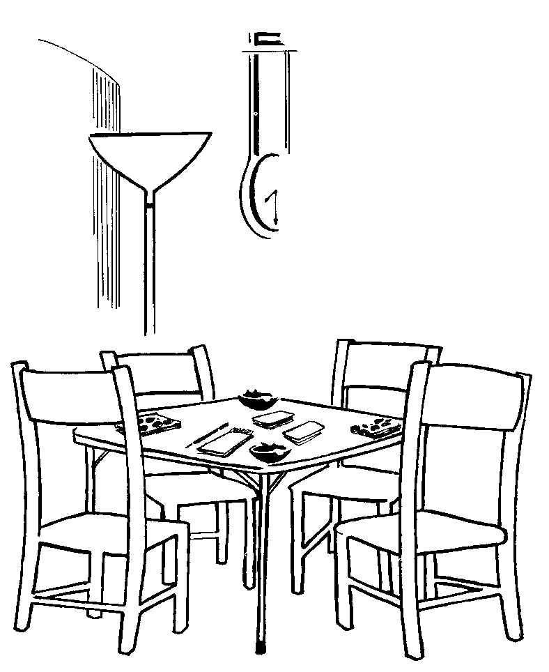 Table and Chairs Coloring Page