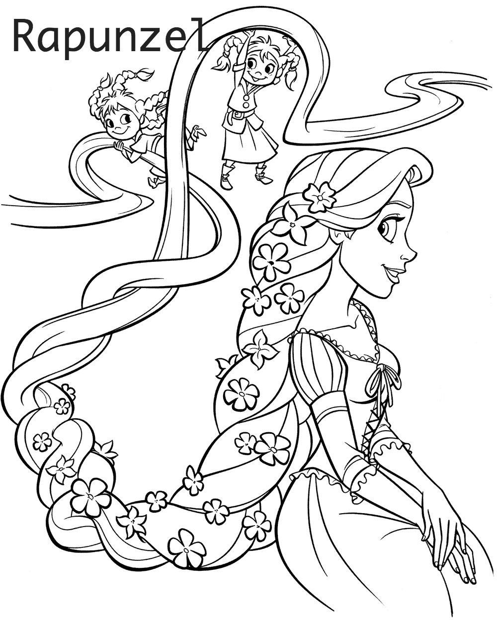 Free Coloring Pages Of Rapunzel Elsa Anna