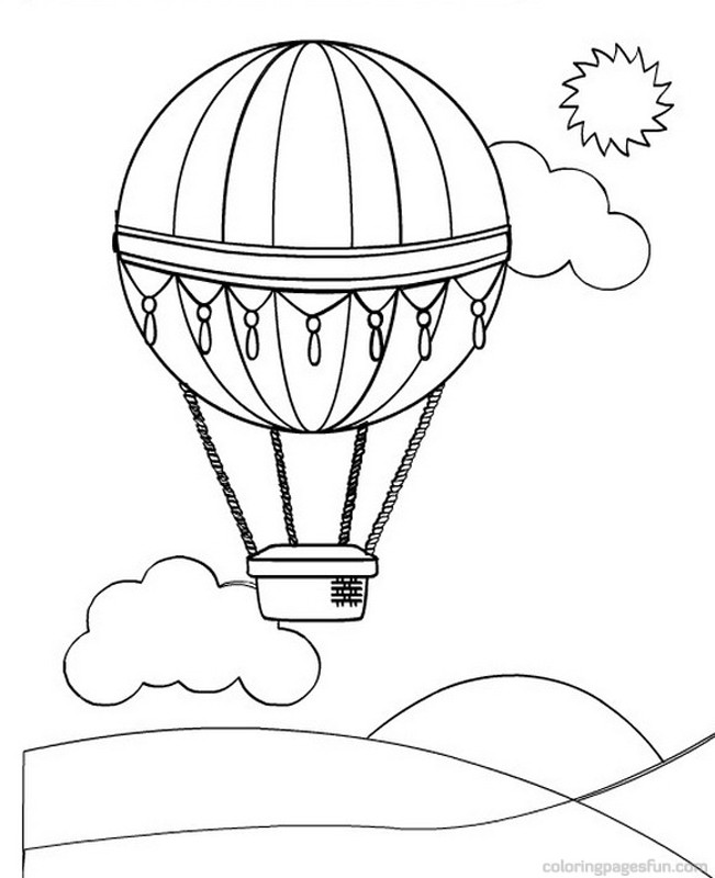 hot air balloon coloring page globos para colorear 6741
