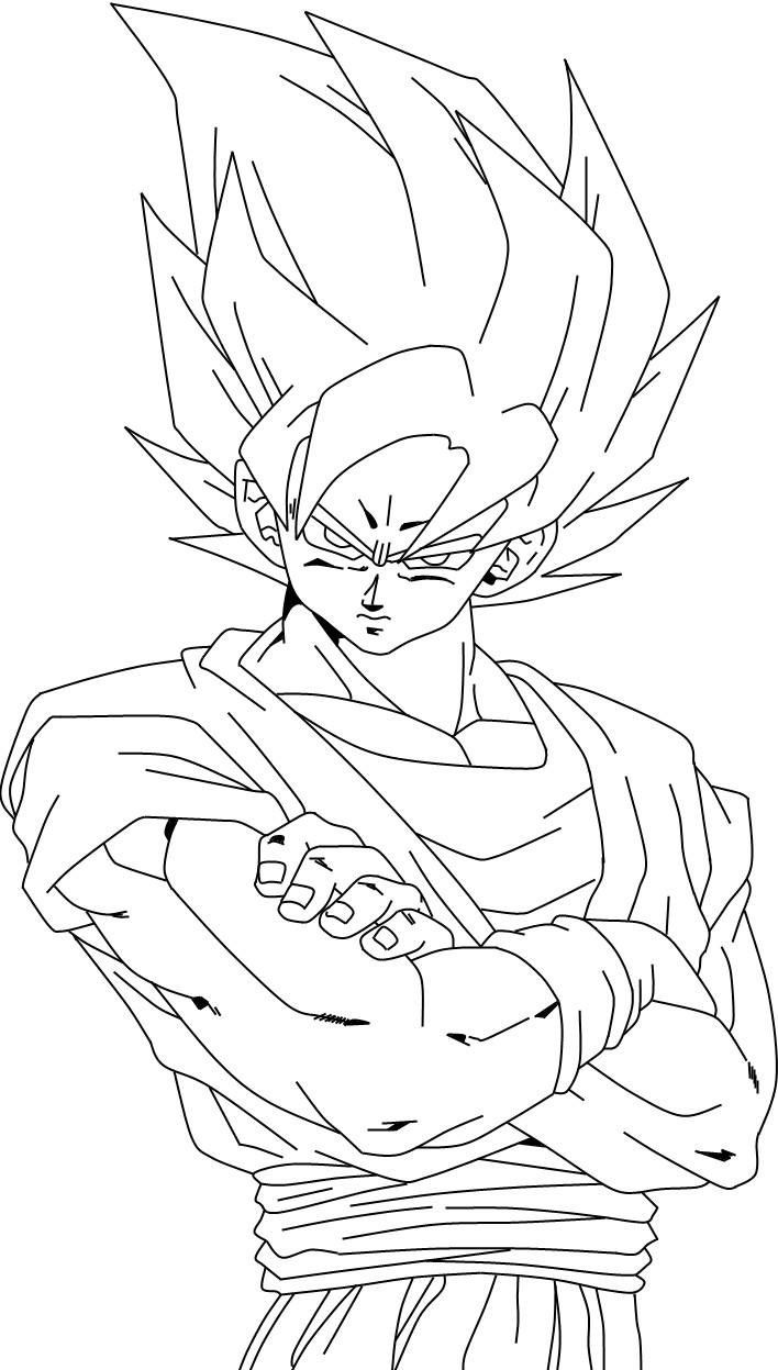 Goku Para Colorear Pintar E Imprimir