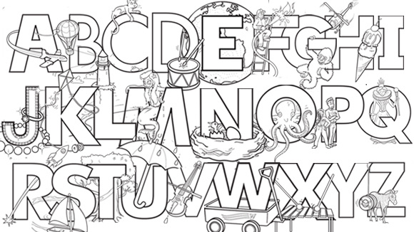 Alphabet Review Coloring Pages : Abecedario para colorear pintar e imprimir