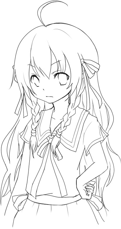 Anime para colorear pintar e imprimir for Anime girl coloring pages
