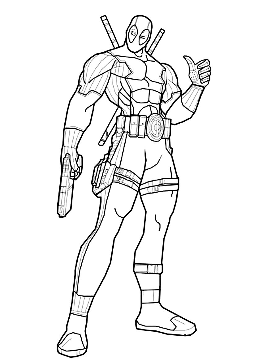 Deadpool para colorear pintar e imprimir for Dead pool coloring pages