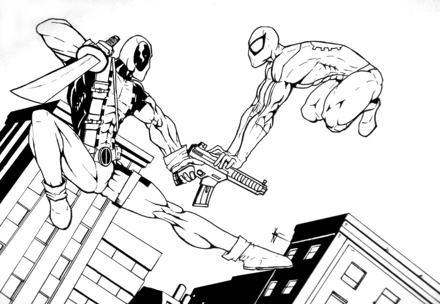 Deadpool Para Colorear, Pintar E Imprimir