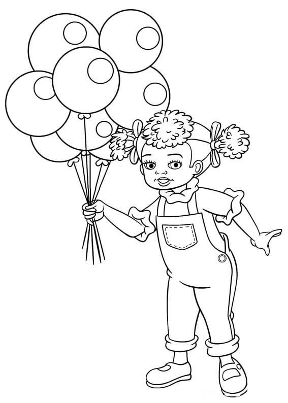Niños Con Globos Para Colorear E Imprimir