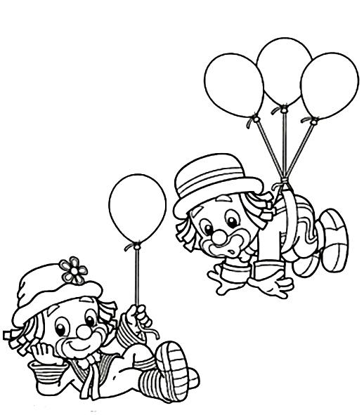 payaso con globos para colorear 2