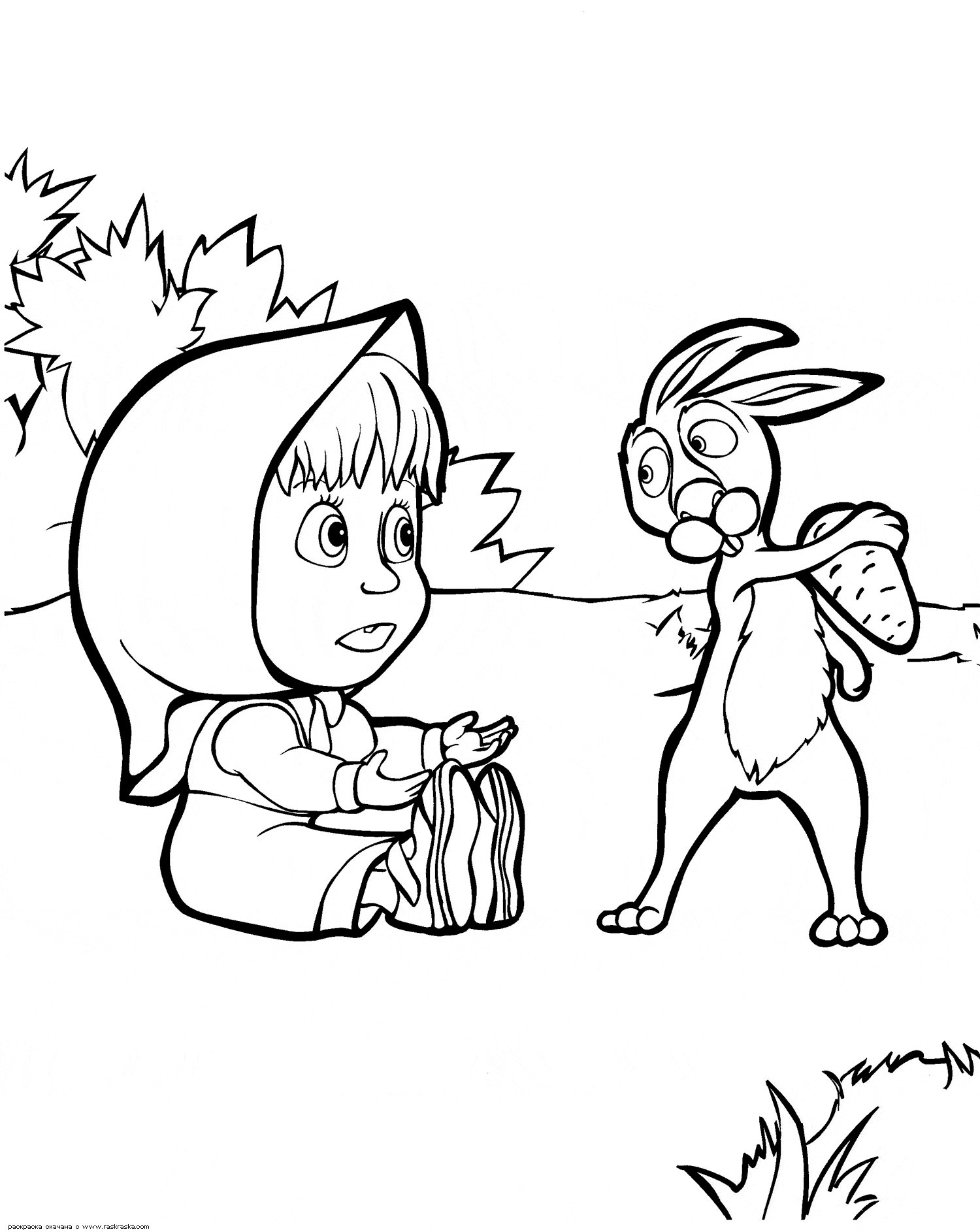 bear and hare coloring pages - photo#16